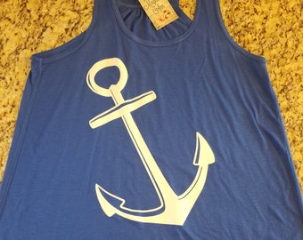 Ready to Ship, Size 2X ONLY,  Royal Blue Anchor Racerback Tank, Cruise Shirt, Boat Shirt, Gym Shirt, Gym Tank, Beach Shirt, Plus Size Tank