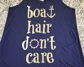 Ready to Ship, Size 2X ONLY,  Boat Hair Don't Care Racerback Tank, Cruise Shirt, Boat Shirt, Gym Shirt, Gym Tank, Yoga Shirt, Plus Size Tank