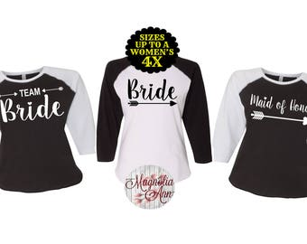 Bride Baseball Shirt, Team Bride Arrow Shirt, Plus Size Bridesmaid Shirts, Bachelorette Shirts, Plus Size Bride, Bridesmaid Shirts, Bride