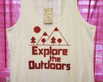 Ready to Ship, Size XXL Only, Explore The Outdoors Tank, Plus Size Clothing, Plus Size Tank Top, Camping Shirt, Nature Shirt, Plus Size Camp