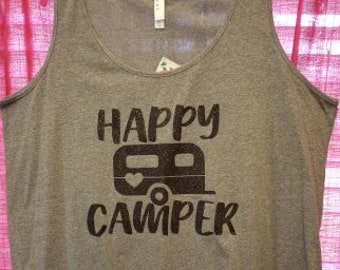 Ready to Ship, Size 2X Only, Happy Camper Shirt, Happy Camper Tank, Camping Shirt, Plus Size Shirt, Plus Size Clothing, Camping Shirt, Curvy