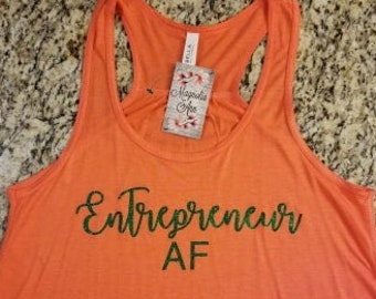 Size 2X Only, Ready To Ship, Entrepreneur AF Racerback Tank, Boss Shirt, Workout Shirt, Workout Tank, Motivational Tank, Gym Tank, Plus Size