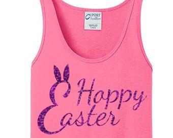 Happy Easter Bunny Rabbit Ears, Women's Cotton Tank Top