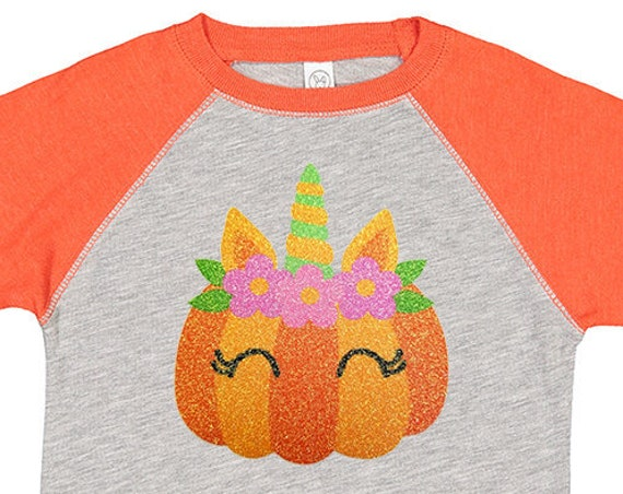 Glitter Pumpkin Unicorn Kids Raglan Shirt, Pumpkin Shirt, Toddler Pumpkin Shirt, Halloween Unicorn, Girls Halloween Shirt, Pumpkin Raglan