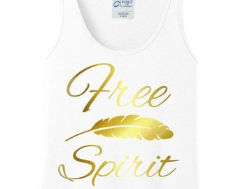 Free Spirit Feather Gold Metallic Women's Tank Top in 6 Colors, Sizes Small-4X, Plus Size
