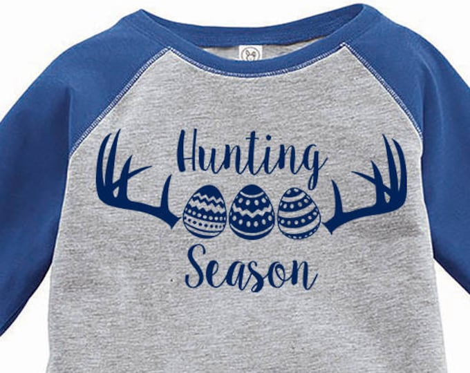 Featured listing image: Hunting Season Easter Egg Shirt, Kids Easter Shirt , Toddler Easter Shirt, Egg Hunting Shirt, Easter Egg Shirt, Toddler Raglan, Kids Easter