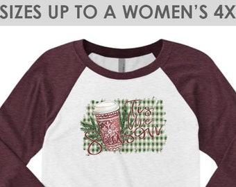 Vintage, Tis The Season Shirt, Christmas Shirt, Tis The Season Shirt, Coffee Shirt, Plus Size Christmas Shirt, Christmas Shirt for Women