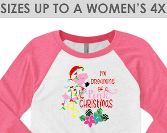 Vintage I'm Dreaming Of A Pink Christmas, Christmas Baseball Tee, Plus Size Christmas Shirt, Christmas Shirts, Holiday Raglan, Christmas Tee
