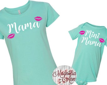 Mama, Mini Mama, Lips, Mommy And Me Shirts, Mom and Daughter Shirts, Family T-shirts,  Family Shirts, Matching Shirts, Mommy and Me Matching