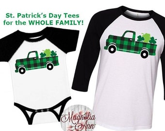 St. Patricks Day Shirt, Shamrock Truck Shirt, Matching St Patricks Day Shirts, Plus Size St Patricks Day Shirt, Kids St Patricks Day Shirt