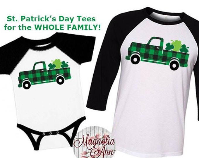 Featured listing image: St. Patricks Day Shirt, Shamrock Truck Shirt, Matching St Patricks Day Shirts, Plus Size St Patricks Day Shirt, Kids St Patricks Day Shirt