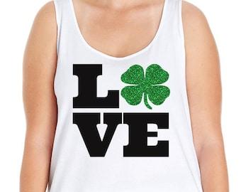 Love Shamrock St. Patrick's Day, St. Paddy's Day Shirt, Plus Size St. Patricks Day, St Patricks Day Shirt Plus Size, St Patricks Day Tank