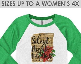 Vintage, Silent Night Holy Night, Christmas Baseball Tee, Plus Size Christmas Shirt, Christmas Shirt, Holiday Shirt, Religious Christmas Tee