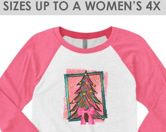 Vintage, Pink Christmas Tree Shirt, Christmas Shirt, Christmas Tee, Plus Size Christmas Shirt, Christmas Shirt for Women, Holiday Shirt,