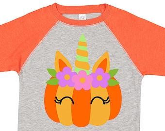 Fall Pumpkin Unicorn Kids Raglan Shirt, Pumpkin Shirt, Toddler Pumpkin Shirt, Halloween Unicorn, Girls Halloween Shirt, Pumpkin Raglan