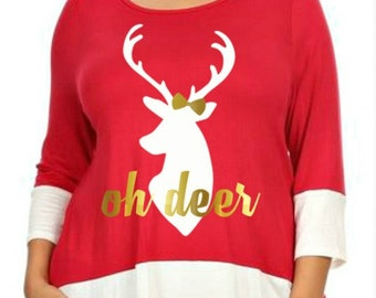 LIMITED QUANTITY Oh Deer, Reindeer with Bow, Christmas Shirt, Red & White Hi Low Hem Womens Top in Sizes Small-3X, Plus Size Clothing