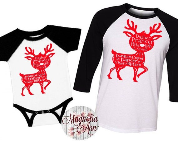 Family Reindeer Shirts, Christmas Shirt, Matching Christmas Shirts, Plus Size Christmas Shirt, Family Christmas, Reindeer Names Shirts