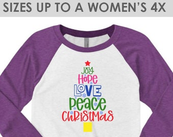 Vintage, Joy Hope Love Peace Christmas Shirt, Plus Size Christmas Shirt, Christmas Shirt for Women, Christmas Shirt, Christmas Tree Shirt