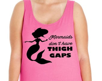 Mermaids Don't Have Thigh Gaps, Summer, Ocean, Beach, Women's Premium Jersey Tank Top in Sizes Small-4X, Plus Sizes, Curvy, Lots of Colors