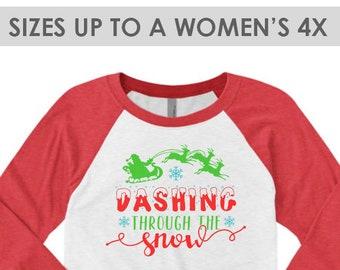 Vintage Dashing Through The Snow, Christmas Baseball Tee, Plus Size Christmas Shirt, Christmas Raglan Shirt, Holiday Raglan, Christmas Tee