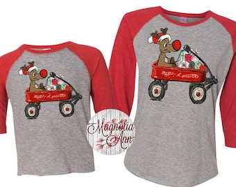 Kids Reindeer Shirt, Family Reindeer Shirt, Matching Family Shirts, Rudolph Wagon Tee, Plus Size Christmas Shirt, Family Christmas Shirts