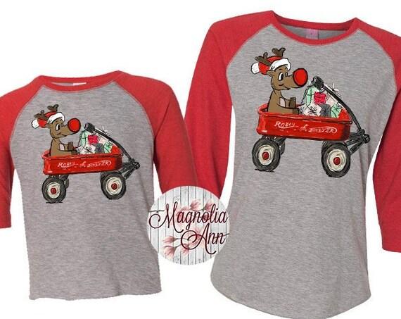 Kids Reindeer Shirt, Family Reindeer Shirt, Matching Family Shirts, Rudolph Wagon Tee, Plus Size Christmas Shirt, Family Christmas Shirts