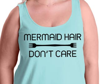 Mermaid Hair Don't Care, Fork, Summer, Beach, Ocean, Women's Premium Jersey Tank Top in Sizes Small-4X, Plus Sizes, Curvy, Lots of Colors