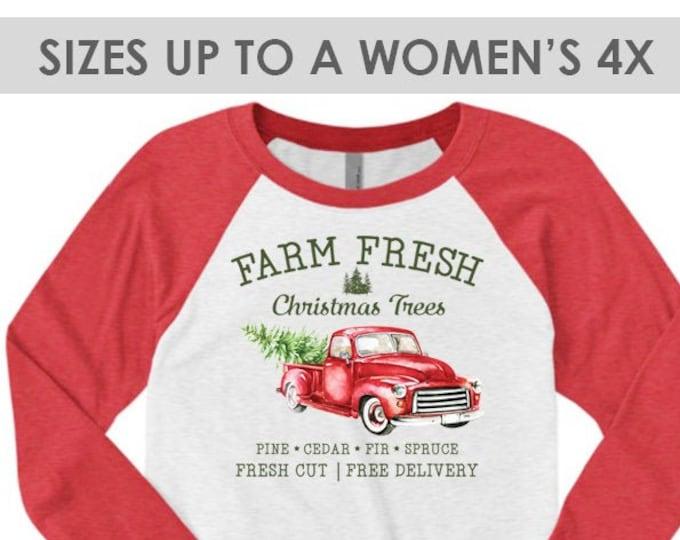Featured listing image: Farm Fresh Christmas Trees Vintage Truck Shirt, Christmas Baseball Tee, Plus Size Christmas Shirt, Christmas Raglan Shirt, Holiday Raglan