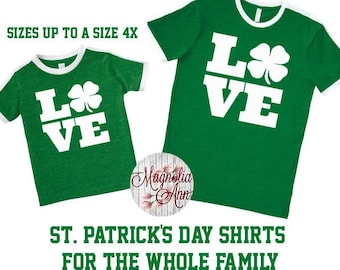 Love St Patrick's Day Shirt, Shamrock Shirt, Plus Size St Patrick's Day Shirt, Matching St Patrick's Day Shirts, Kids St. Patricks Day Shirt