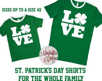 Love St Patrick's Day Shirt, Shamrock Shirt, Plus Size St Patrick's Day Shirt, Matching St Patrick's Day Shirts, Kids St. Patricks Day Shirt