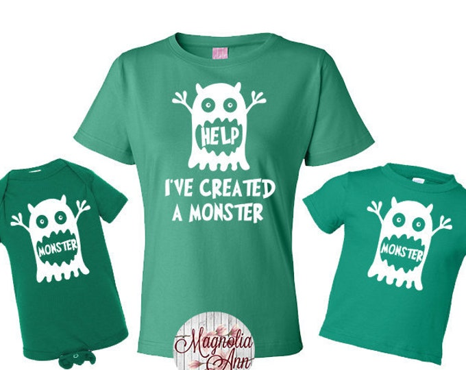Featured listing image: Help I've Created a Monster, Monster Shirt, Mommy and Me Set, Mother's Day Gift, Fathers Day Gift, Daddy and Me Set, Shirt Set, Family Shirt