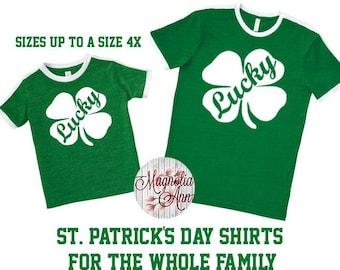 Lucky Shamrock, St Patrick's Day Shirt, Shamrock Shirt, Plus Size St Patricks Day Shirt, Matching St Patricks Shirts, Matching Family Shirts