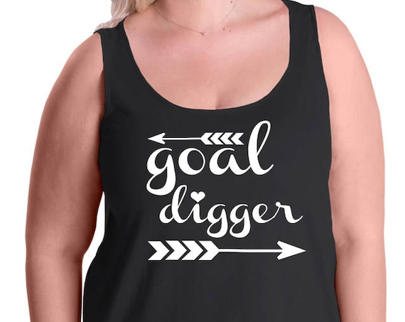 Goal Digger, Motivational, Women's Premium Jersey Tank Top in Sizes Small-4X, Plus Sizes, Curvy, Lots of Colors