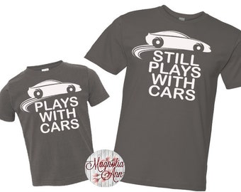 08285b87 Plays With Cars Shirt Set, Father Son Tees, Father Son Matching Shirts,  Daddy