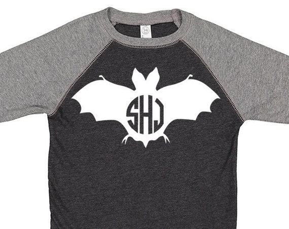 Kids Monogram Halloween Shirt- Bat Monogram Shirt- Halloween Bat Shirt- Girls Halloween Shirt- Boys Halloween Shirt- Monogram shirt, Bat Tee