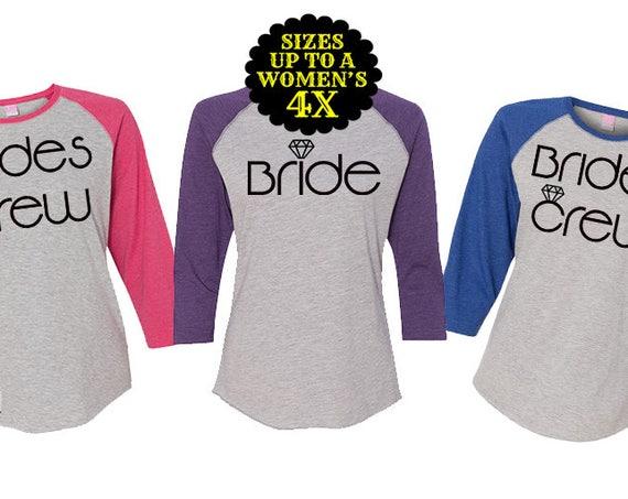 Brides Crew Baseball Shirt, Brides Crew Shirt, Bridal Party Shirt, Bridesmaid Shirt, Bachelorette Party, Plus Size Bride Shirt, Plus Size