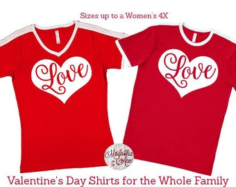 Love Heart Shirt, Valentine's Day Shirt, Plus Size Valentine's Shirt, Mommy and Me Valentine's Shirt, Kids Valentine's Day Shirt, Youth Love
