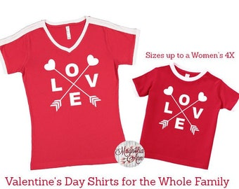 Love Arrow Shirt, Valentine's Day Shirt, Plus Size Valentine's Shirt, Mommy and Me Valentine's Shirt, Kids Valentine's Day Shirt, Youth Love