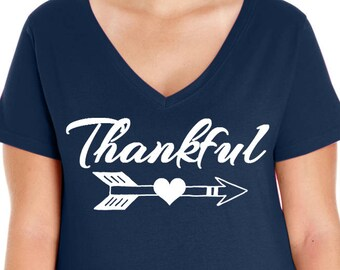 Thankful Arrow, Thanksgiving, Inspirational, Women's Premium Jersey V-Neck T-shirt in Sizes Small-4X, Plus Size, Curvy, Plus Size Clothing
