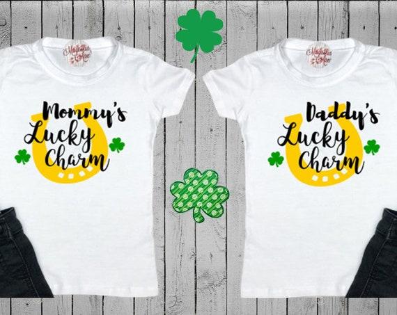 Mommy's Lucky Charm, Daddy's Lucky Charm, St. Patricks Day Kids Shirt, Girls St Patricks Day Shirt, Boys St Patricks Day Shirt, Shamrock Tee