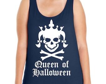 Queen of Halloween, Skull Head, Crown, Women's Premium Jersey Tank Top Sizes Small-4X, Plus Size Clothing, Plus Size Halloween, Curvy