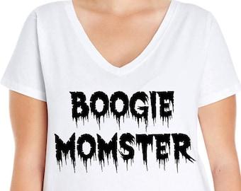 Boogie Momster, Women's V-Neck T-shirt, Plus Size Clothing, Plus Size Halloween, Halloween Tee, Halloween T Shirt, Boogie Monster, Mom Tee