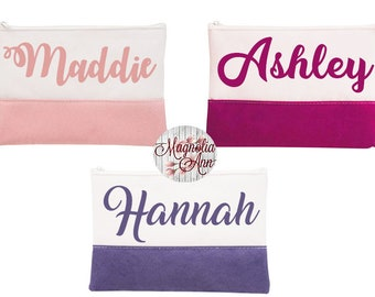 Custom Cosmetic Bag, Custom Makeup Bag, Personalized Cosmetic Bag, Bridesmaid Gift, Custom Bridesmaid Gift, Zippered Pouch, Cosmetic Pouch