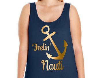 Feelin Nauti, Cruise, Boat, Ocean, Beach, Women's Premium Jersey Tank Top in Sizes Small-4X, Plus Sizes, Curvy, Lots of Colors