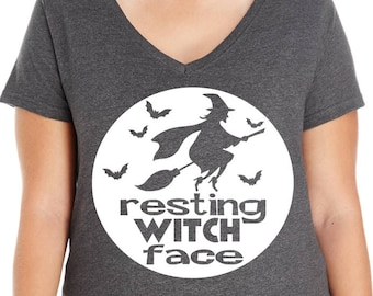 Resting Witch Face Women's V-Neck T-shirt, Plus Size Clothing, Plus Size Halloween, Halloween Tee, Halloween T Shirt, Witch Shirt, Witch Tee