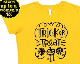 Trick Or Treat, Halloween Shirt, Plus Size Halloween Shirt, Plus Size Clothing, Fall Shirt, Halloween Costume, Pumpkin Shirt,Halloween Party