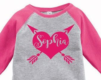Custom Name Heart Arrow Toddler Raglan T-shirt, Valentines Day Shirt, Kids Valentines Day Shirt, Toddler Valentines Shirt, Toddler Tee