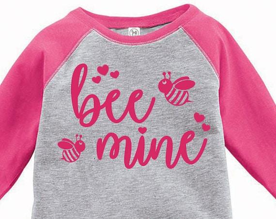 Bee Mine, Bumble Bee Toddler Baseball Raglan T-shirt, Valentines Day Shirt, Kids Valentines Day Shirt, Toddler Valentines Shirt, Toddler Tee