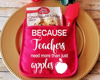 Because Teachers Need More Than Just Apples,Teacher Pot Holder, Teacher Appreciation, Teacher Gift, Personalized Pot Holder,Custom Oven Mitt