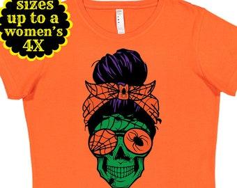 Halloween Mom Skull, Momster Shirt, Halloween Shirt, Plus Size Halloween Shirt, Plus Size Clothing, Mom Life Shirt,Halloween Costume,Monster